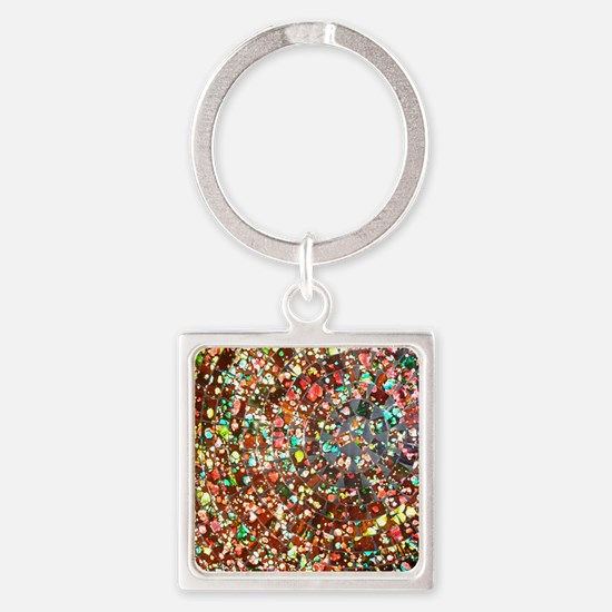 balinese glass tile art Square Keychain