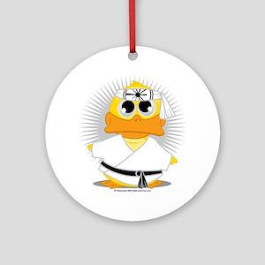 Karate-Duck Round Ornament