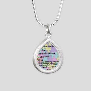 aspergers traits 3 copy Silver Teardrop Necklace