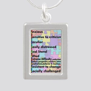 aspergers traits 3 copy Silver Portrait Necklace