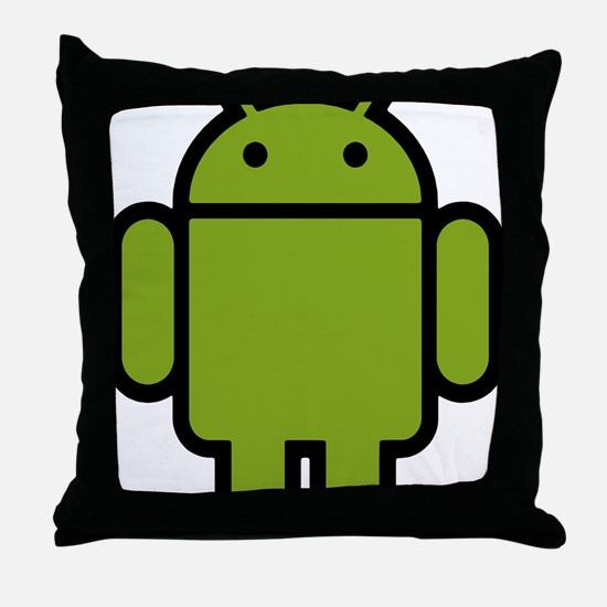 Android-Stroked-Black-New Throw Pillow