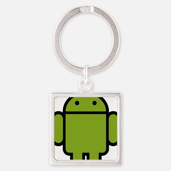 Android-Stroked-Black-New Square Keychain