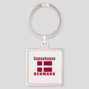 Copenhagen Denmark Designs Square Keychain