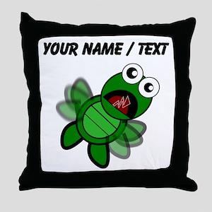 Custom Cartoon Turtle Falling Throw Pillow