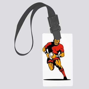 rugby player running with ball Large Luggage Tag