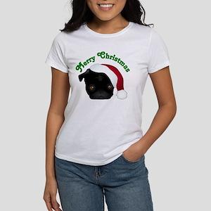 Black Pug in Santa Hat Women's T-Shirt