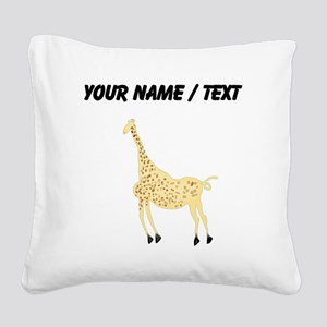 Custom Rock Art Giraffe Square Canvas Pillow