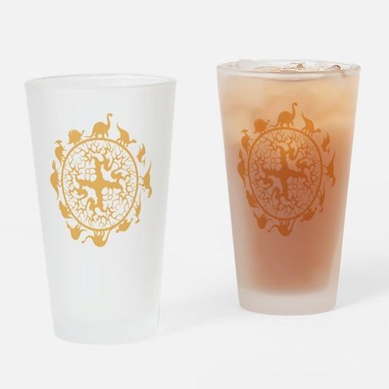 dino circle4 Drinking Glass