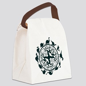 dino circle2 Canvas Lunch Bag