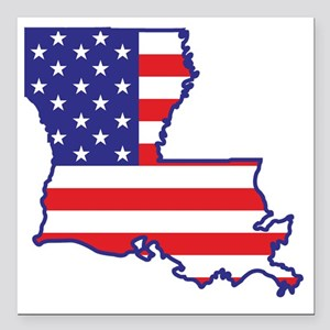 "louisiana_state_flag_map Square Car Magnet 3"" x 3"""