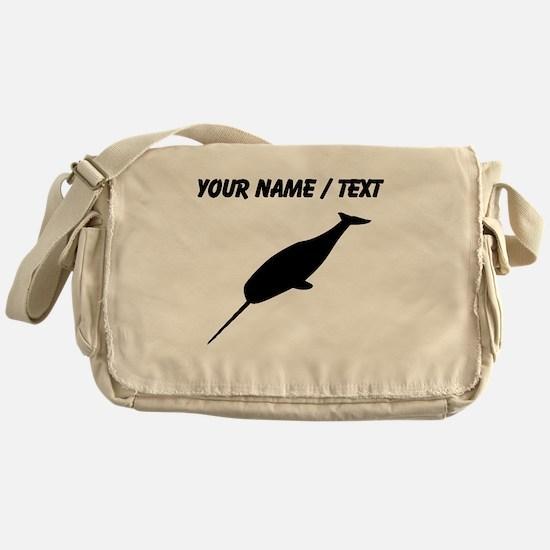 Custom Narwhal Silhouette Messenger Bag