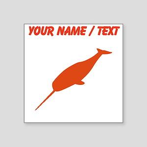 Custom Orange Narwhal Silhouette Sticker