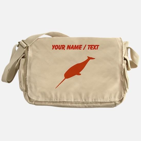 Custom Orange Narwhal Silhouette Messenger Bag