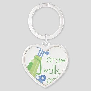 Crawl, Walk, Golf Heart Keychain