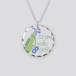 Crawl, Walk, Golf Necklace Circle Charm