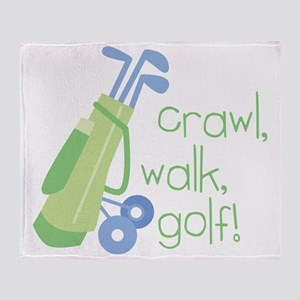 Crawl, Walk, Golf Throw Blanket