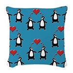Penguins In Love Woven Throw Pillow