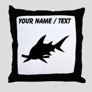 Custom Hammerhead Shark Silhouette Throw Pillow