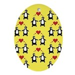 Penguins In Love Ornament (Oval)