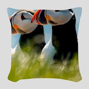 Puffin Pair 14x14 600 dpi Woven Throw Pillow