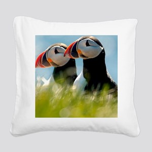 Puffin Pair 14x14 600 dpi Square Canvas Pillow