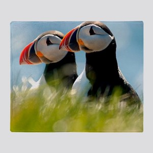Puffin Pair 14x14 600 dpi Throw Blanket