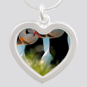 Puffin Pair 14x14 600 dpi Silver Heart Necklace