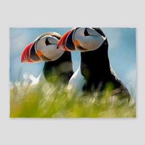 Puffin Pair 14x14 600 dpi 5'x7'Area Rug