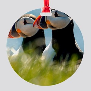 Puffin Pair 14x14 600 dpi Round Ornament