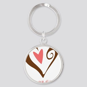 2-MidwivesHeartBrown Round Keychain