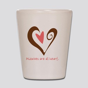 2-MidwivesHeartBrown Shot Glass