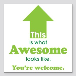 """Awesome_lime Square Car Magnet 3"""" x 3"""""""