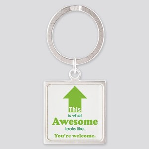Awesome_lime Square Keychain