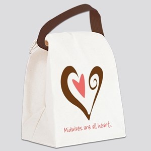 MidwivesHeartBrownSmall Canvas Lunch Bag