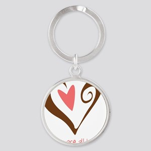 MidwivesHeartBrownSmall Round Keychain