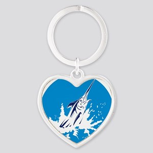 blue marlin jumping Heart Keychain