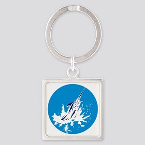 blue marlin jumping Square Keychain