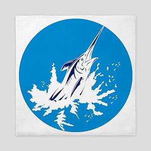 blue marlin jumping Queen Duvet