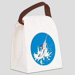 blue marlin jumping Canvas Lunch Bag