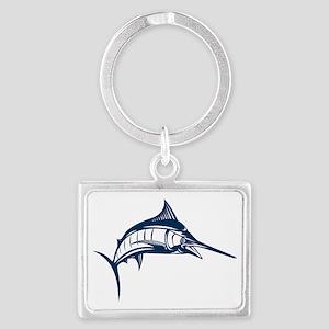 blue marlin jumping Landscape Keychain