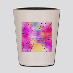 happy colors pink Shot Glass