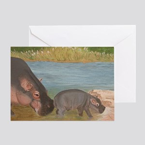 Crop - Momma Hippo  Baby copy Greeting Card