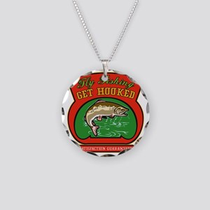 Trout jumping fly fishing Necklace Circle Charm