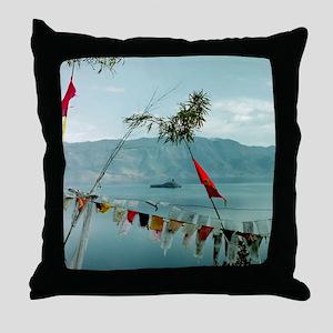 tibitan prayer flags Throw Pillow