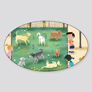 dog_park_calendar Sticker (Oval)