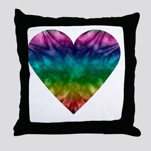 Tie-Dye Rainbow Heart Throw Pillow