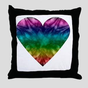 Tie-Dye Rainbow Heart Throw Pillow