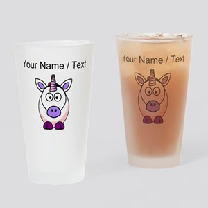 Custom Cartoon Unicorn Drinking Glass