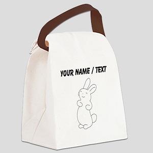 Custom White Bunny Cartoon Canvas Lunch Bag