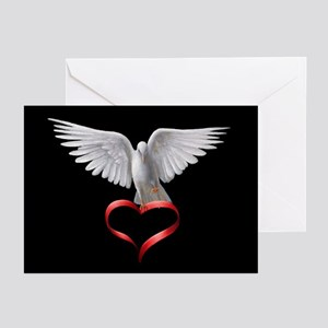 White Dove and Heart Greeting Cards (Pk of 20)